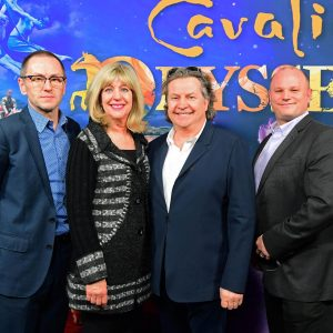True North's Kevin Donnelly, Minister of Sport, Culture and Heritage Cathy Cox and Cavalia's Normand Latourelle and David Latourelle in Winnipeg