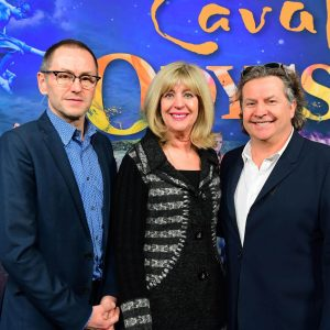True North's Kevin Donnelly, Minister of Sport, Culture and Heritage Cathy Cox and Cavalia's Normand Latourelle in Winnipeg