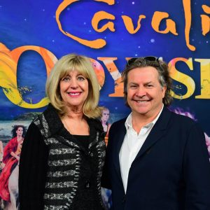 Minister of Sport, Culture and Heritage Cathy Cox and Cavalia's Normand Latourelle in Winnipeg