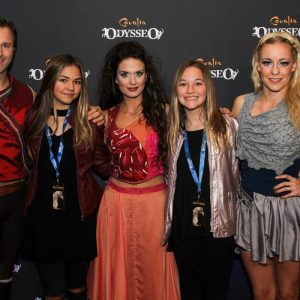 Rider Charles, singer Valentina and aerialist Karolina with two guests