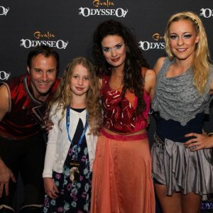 Rider Charles, singer Valentina and aerialist Karolina and a young guest