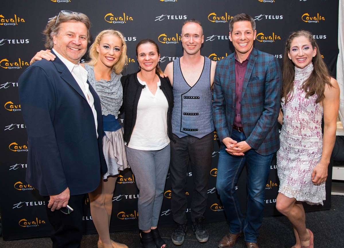 Cavalia Founder and Artistic Director Normand Latourelle, Brian Bowman, Mayor of Winnipeg, and his wife Tracy Bowman with aerialists Karolina, Nicolo and Jacki